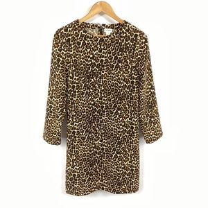 J Crew Crepe Shift Dress Leopard Print 3648